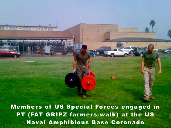 US Special Forces engaged in PT with Fat Gripz doing farmers-walk